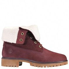 5158b12d63 Timberland Women s Jayne Waterproof Fleece Fold-Down Boots Burgundy Nubuck