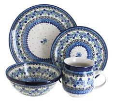 Eliza 4 Piece Place Setting - Service for 1 - Blue Rose Polish Pottery Mug Dinner, Dinner Sets, Dinner Plates, Dessert Plates, Blue And White Dinnerware, Polish Pottery, Cereal Bowls, Place Settings, Stoneware