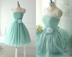 2014 New  Mint Strapless Knee Length Aline Bowknot door loveshop9, $88.00