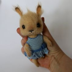 Crochet beige bunny girl with crochet blue jumpsuit от LozArts