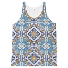 Blue Tiles All-Over Print Tank Top Tank Tops