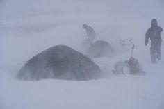 Sitka Athletes Cole Kramer and Adam Foss hunkering down amongst an unrelenting Kodiak Island storm - Sitka Gear