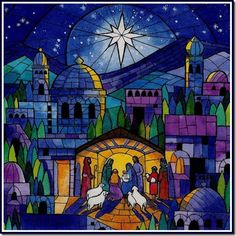 'Oh Holy Night' - this is so beautiful, I want it as a stained glass window or framed to put up at Christmas time