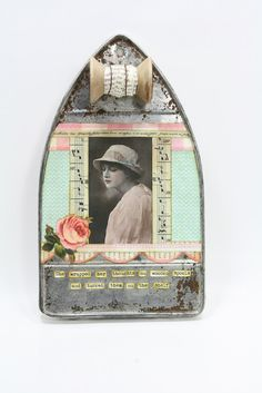 Found Object Art Assemblage - Thought Reservoir- Vintage Image. $75.00, via Etsy.