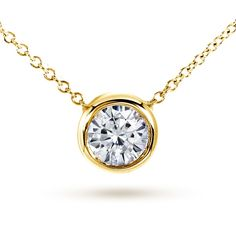 Annello by Kobelli 14k Yellow Gold 1ct Round Moissanite Solitaire Bezel Necklace