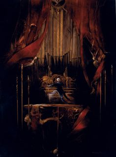 Anne Bachelier - Original Oil on Paper Illustration from Phantom of the Opera - The Organ