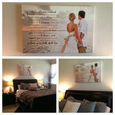 Canvas photo above bed with words