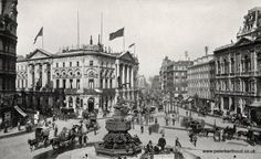 Piccadilly Circus in Edwardian London.  Photo from a 1908 book.