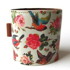 Leather cuff/ wallet wristband  Birds & Roses design by tovicorrie, $32.00