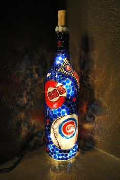 Chicago Cubs Lighted Wine Bottle on Etsy, $30.00