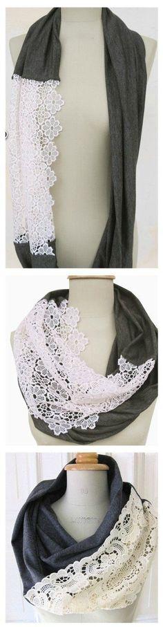 DIY lace scarf! So pretty!