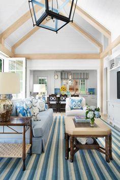 Traci Rhoads Interiors - living rooms - Arteriors Elise Table Lamp, beach living room, beachy living, coastal living room, striped rug, blue...