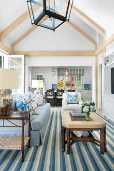 Traci Rhoads Interiors - living rooms - Arteriors Elise Table Lamp, beach living room, beachy living, coastal living room, striped rug, blue...