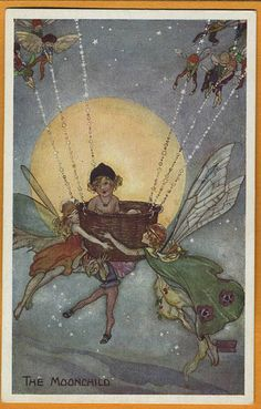 'The Moonchild' -- Florence Mary Anderson card (eBay) | 'While fairy dust fills the air, with tones of silver midnight moon, Tears of rainbow mist, reveal creatures large and small, Frozen in timeless wonder, of this moonlit splendor. While laughing colors light their skin ablaze, plants of jealousy watch as the MOONCHILD plays, with the son of dawn…' (wattpad)