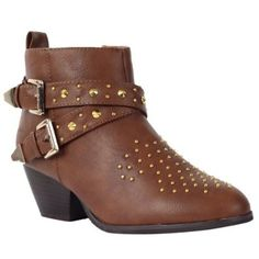 Womens Tan Brown Studded Ladies Block Heel Cowboy Ankle Shoes Boots