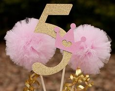 Princess Party Pink and Gold Pom Pom Wands by GracesGardens