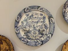 A hand painted ceramic plate by Mark Hearld, as featured in 'The Lumber Room - Unimagined Treasures', the exhibition Mark has curated at York Art Gallery. Find out more... http://allthingsconsidered.co.uk/2015/10/visit-lumber-room.html