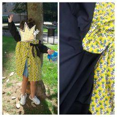 Nuestra compañera Ana nos envía este mandilón que ha confeccionado su amiga Zuce para la peque. Está realizado con nuestro algodón de piñas combinado con negro liso.
