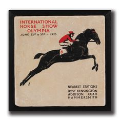 Olympic Jumper Framed Wall Art. Natural tumbled Italian Botticino marble decorated with vintage show jumping equestrian art from the 1923 Olympics. Presented on a deep black wood frame creating a sophisticated air.