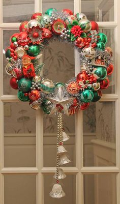 Vintage Christmas ornament wreath made using our tutorial.