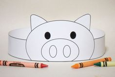 Pig Paper Crown COLOR YOUR OWN Printable