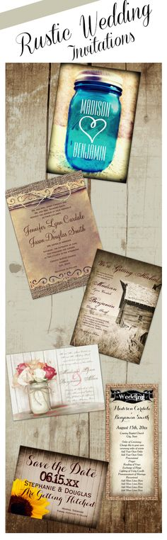 Rustic Wedding Invitations for a country style wedding. Unique rustic country vintage wedding invites for cheap prices.  Easy to edit templates.  #wedding
