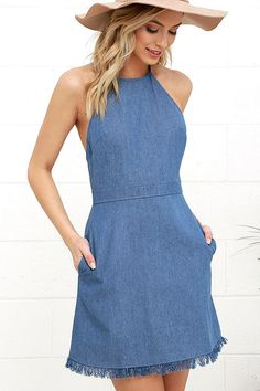 Pick a perfect spot at the park to catch some rays and show off the Sunny Spot Blue Chambray Halter Dress! A tying halter neckline tops off this adorable chambray dress with a darted bodice and open back. A-line skirt ends in a fun and fringy frayed hem. Exposed brass zipper at back.