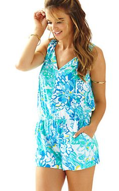 407a4805016 Unwind with the easy-wearing Lilly Pulitzer Tybee Sleeveless Romper in  Resort White In A Pinch. - Elastic Waistband and tassels at v-neck - Woven  Vintage ...