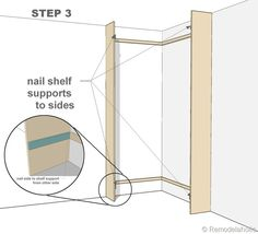 step 3 - corner bult-in bookshelves mod Bookcase Plans, Bookcase Bed, Corner Bookshelves, Bookcases, Book Shelves, Handmade Bookshelves, Bookshelf Makeover, Closet Redo, Corner Pantry