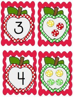 Apple Counting and Number Match- Freebie! Preschool Apple Theme, Apple Activities, Autumn Activities, Kindergarten Math, Math Activities, Preschool Activities, Learning Numbers, Math Numbers, Math Classroom