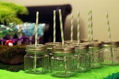 Mason jars for drinks. So cute!
