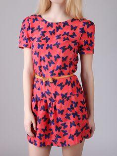 Butterfly Print Mini Dress with Belt | Choies