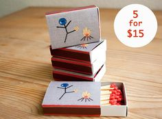5 Mr.Buttonman Limited Edition Handmade Matchboxes for $15.00. By Joelle Gebhardt on Etsy // Great Stocking Stuffers !! Click here to buy now.