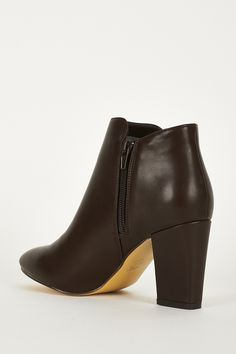 Brown Stretch Side Panel High Block Heel Ankle Boots. £9.99
