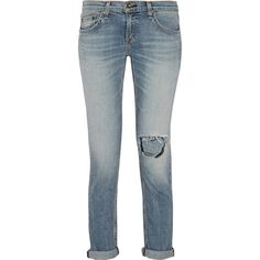 Rag & bone The Dre distressed mid-rise slim boyfriend jeans ($101) ❤ liked on Polyvore featuring jeans, blue, destroyed jeans, boyfriend fit jeans, mid-rise jeans, mid rise boyfriend jeans and torn boyfriend jeans