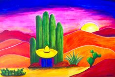 Stunning 'Southwestern Sunset' Artwork For Sale on Fine Art Prints Mexican Artwork, Mexican Paintings, Mexican Folk Art, Cactus Painting, Cactus Art, Los Muertos Tattoo, Southwestern Art, Aztec Art, Arte Pop