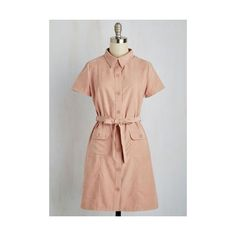 Vintage Inspired Mid-length Short Sleeves A-line Quintessential Cafe... ($65) ❤ liked on Polyvore featuring dresses, apparel, fashion dress, pink, button shirt dress, dusty rose dress, shirt-dress, long shirt dress and button dress