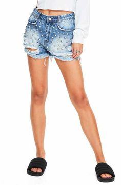 Missguided Studded Distressed Denim Shorts