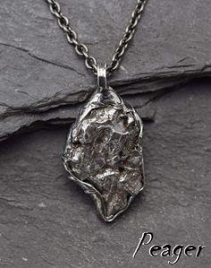 Natural Gibeon Meteorite Cross Shape Silver Pendant 38/×26mm
