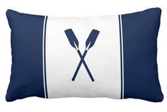 Nautical pillow with paddles. Fresh and clear looking decor for every nautical living room and bedroom. For sailors and everyone, who loves nautical, New England, Hamptons and Nantucket Style.   #nautical #pillows #maritime