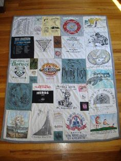 T-shirt Quilt - this tutorial shows how to create the quilt using a variety of sized images.  Very detailed tutorial.