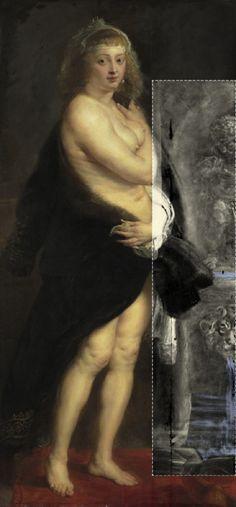 Stralenscanner UIA legt expliciet erotische elementen (fontein met waterspuwende leeuwenkop en 'manneken pis') bloot in Pieter Paul Rubensschilderij 'Het Pelsken', oorspronkelijk een slaapkamerstuk, van zijn 2de echtgenote Hélène Fourment.