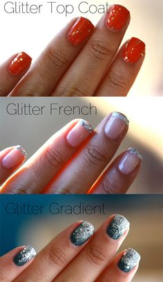 Glitter Nails three ways.  I never polish my finger nails (just my toes) but this makes me tempted to try it anyway.  :)