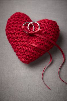 Ask a relative or close friend to knit you a heart ring cushion - home made with love and a lovely keepsake