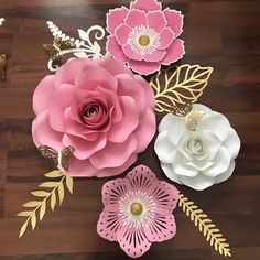 New Set in Pink, white and gold for a how warming Party. Make your own gorgeous Paper Flowers using our Paper Flower Templates Available in The Crafty Sagittarius shop. Comes in SVG and PDF files . Comprehensive video tutorials are included.