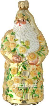 Rose Trelliage Santa (Yellow) Patricia Breen Designs (Flowers, Gold, Green, Yellow, Spring)
