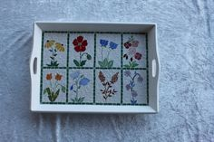 Mosaic tray imaginary herbarium of flowers on by MAKOSZAMosaique, Free Mosaic Patterns, Mosaic Tray, Mosaic Ideas, I Shop, My Design, Projects To Try, Crafts, Diy, Painting