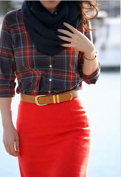 Plaid, red, belt, scarf