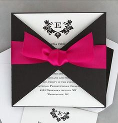 beautiful wedding invitations with ribbon bow on www.yukoes.com cheapest price,can be customized