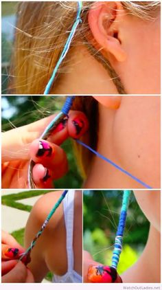 embroidery floss hair wrap Boho Hair Wrap ~:~ Small strands of hair wrapped with embroidery floss. It gives a pop of color, without coloring your hair. Boho Hairstyles, Pretty Hairstyles, Pirate Hairstyles, Dreadlock Hairstyles, Wedding Hairstyles, Updo Tutorial, Hippie Hair, Color Your Hair, Hair Strand